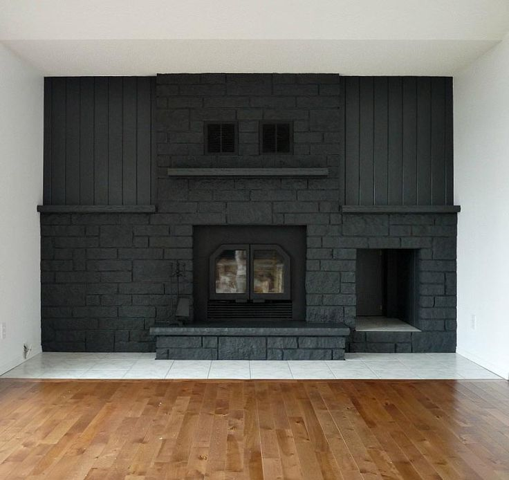 A Bold Black Fireplace Makeover Design Sponge Before After Makeovers Pinterest