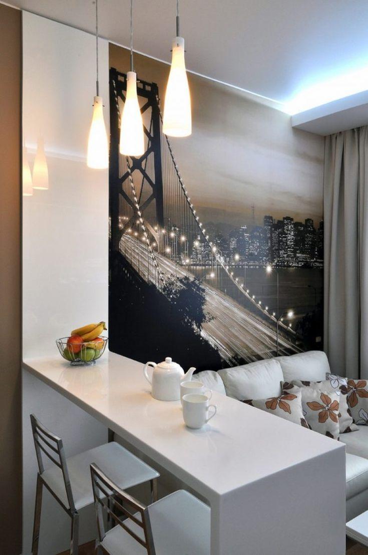Kis lakás, 40m2 - természetes, meleg, otthonos berendezés fehérrel és barna árnyalatokkal