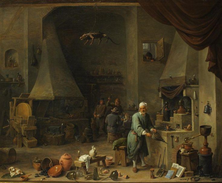 Interrior of a laboratory with an alchemist, David Teniers, XVIIe siècle