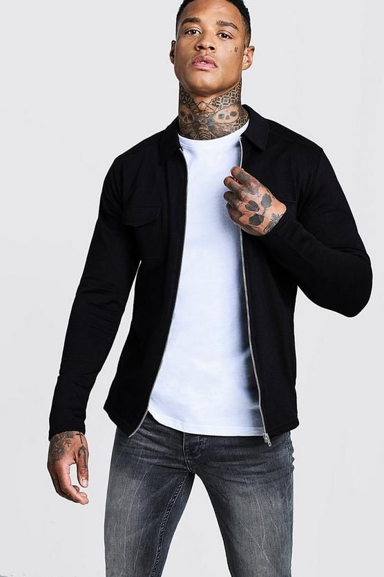 734ed7b5b Jersey Utility Shacket in 2019 | Fashion | Boohoo, Shirts, Bomber Jacket