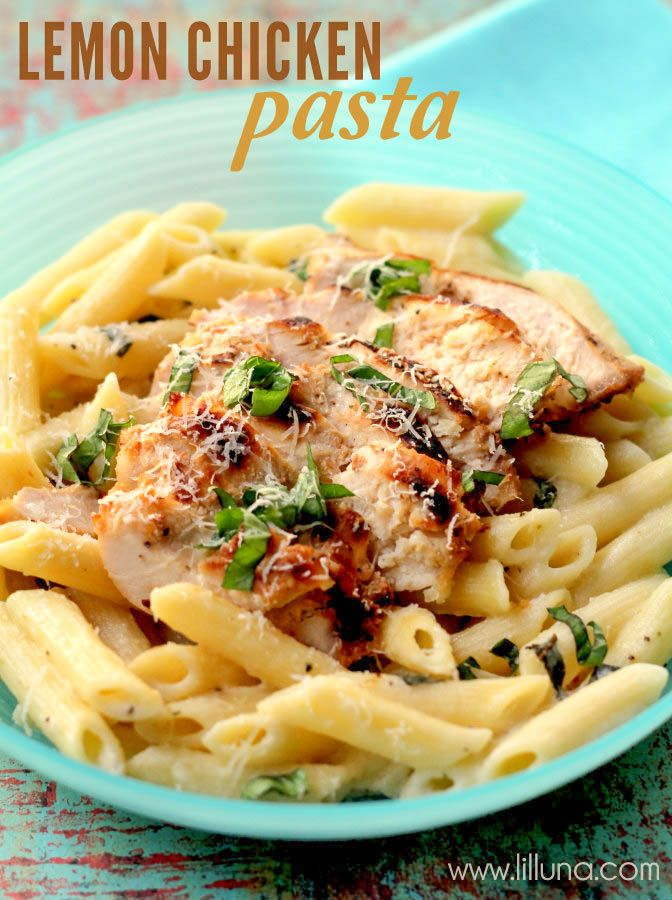 Chicken and Lemon Basil Pasta recipe on { lilluna.com } #chicken