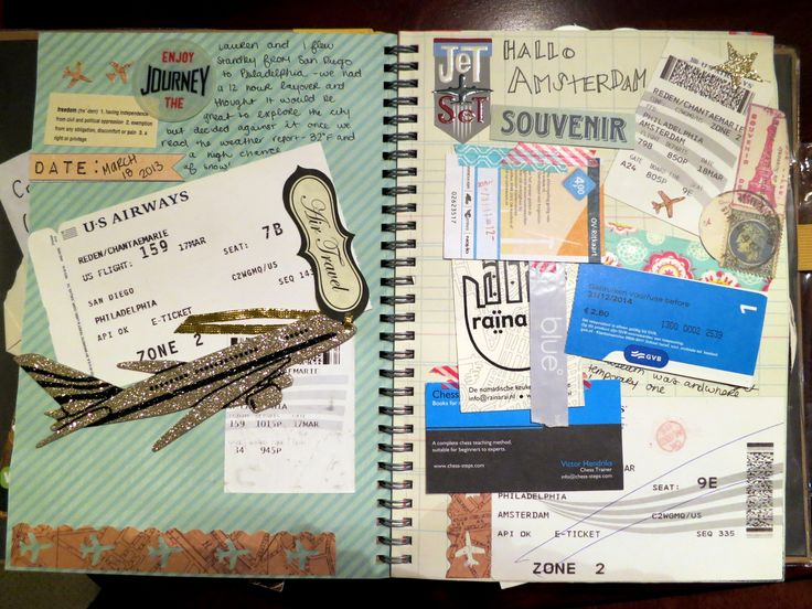 How to create a travel DIY souvenir: A Travel Smash*book. Paste in all of those pesky ticket stubs and receipts that would otherwise get lost.