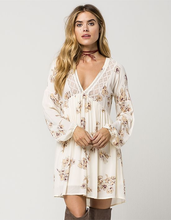 clothing shoes womens floral lace flowy long sleeved tunic dress product