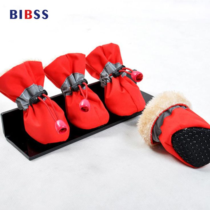 4 pcs Non-slip Solid Color Dog Pet Shoes Nylon Waterproof Dog Boots Dog's Shoes Winter Warm Rain Boots for Small Dog S/M/L/XL