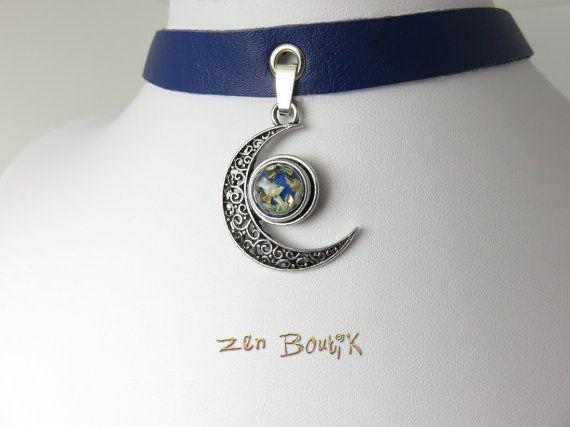 Collier Choker Cuir Bleu et Lune Bouton Pression, Collier Ras de Cou Cuir, Bouton Chunk Snap Interchangeable, Idée Cadeau Femme, Bijoux Zen