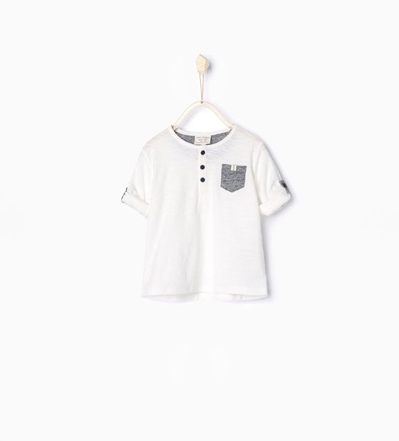 T-shirt with roll-up sleeves  Zara always has the perfect, simple boy clothes!