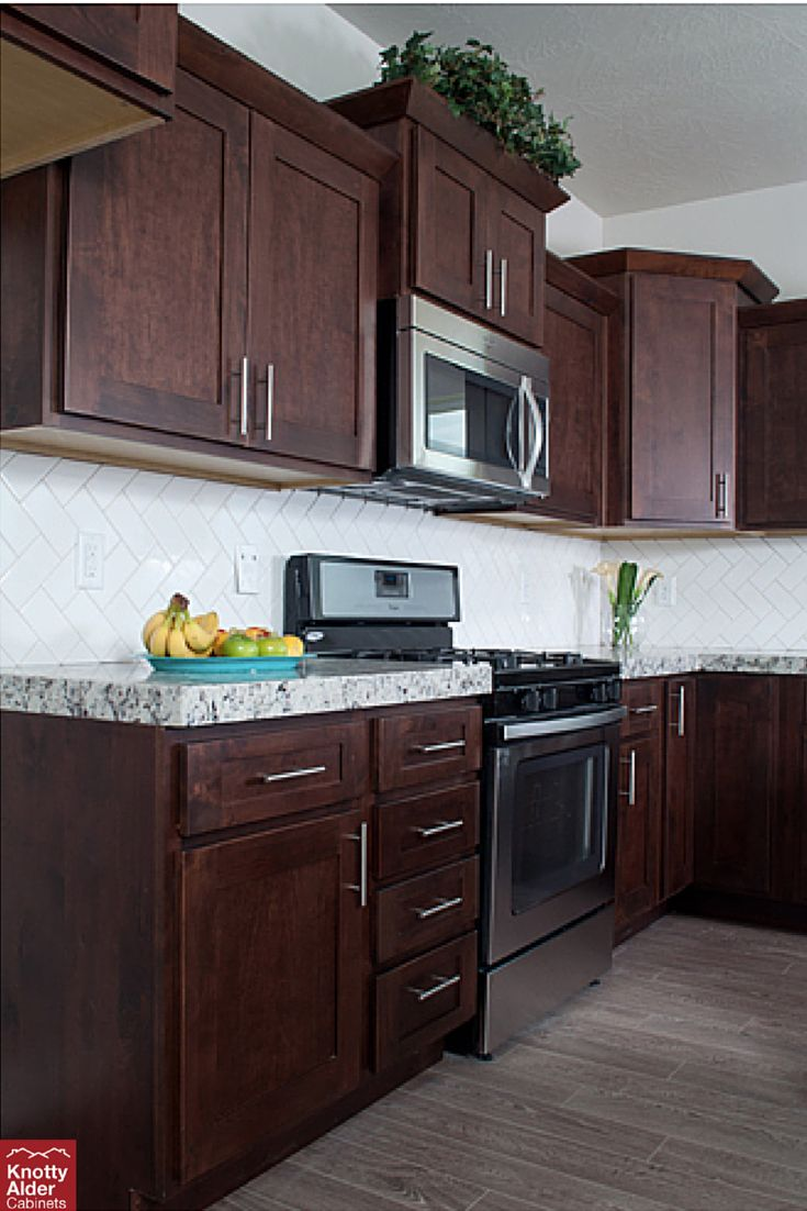 Dark mocha cabinets against white nice contrast kac for Kitchen cabinets rta