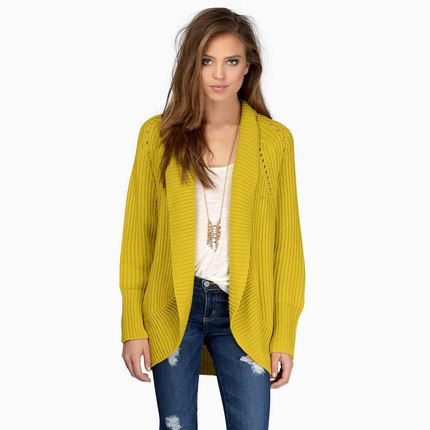 2016 Spring Women Knitted Cardigan Yellow