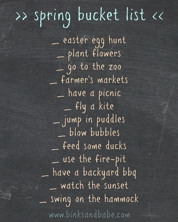 bucket list | spring edition