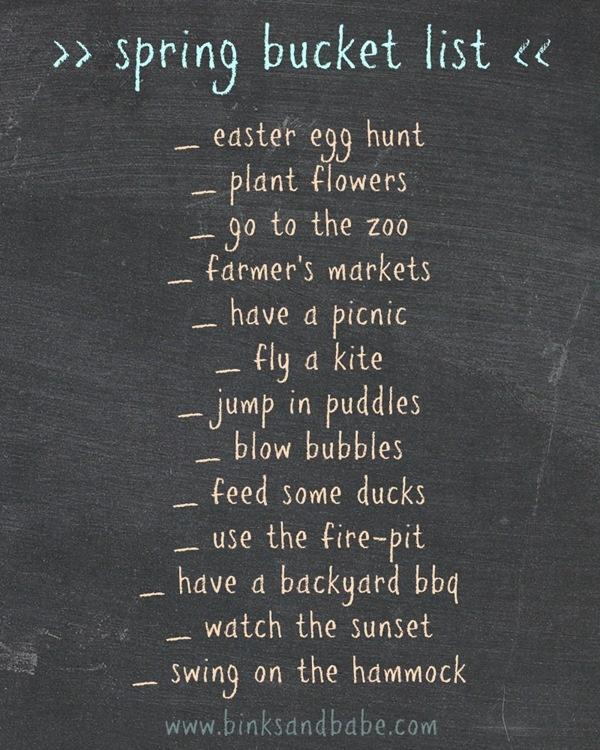 bucket list | spring edition