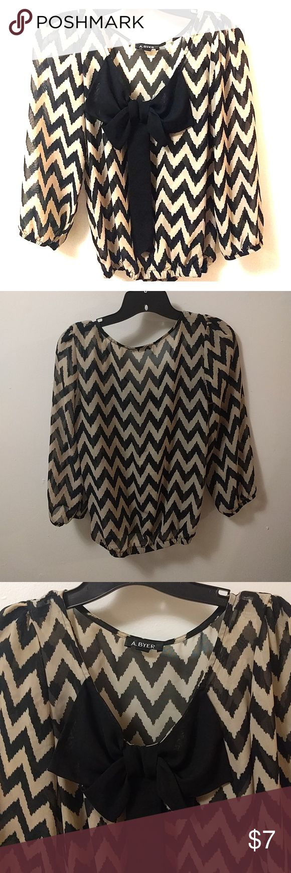 Amy Byer 3/4 sleeve chevron blouse Bow detailed chevron blouse by Amy Byer Amy Byer Tops Blouses