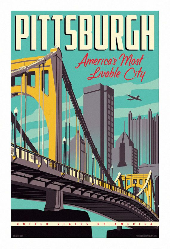 Vintage style pittsburgh travel poster 13x19 by for Poster prints for sale