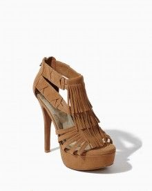 Kyla Fringe Zip Heels at charmingcharlie.com - these would be super cute to wear with a sexy Pocahontas costume for Halloween!