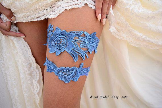 Kousenband blauw bruiloft bruids kousenband van ZizelBridal op Etsy