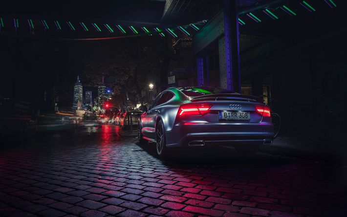 Download wallpapers 4k, Audi A7 Sportback, tuning, night, street, tunned A7, german cars, Audi