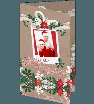 Kerstkaart foto met wit lint en rode kerstster. #kerstkaarten #kerstkaart design Geertje burgers