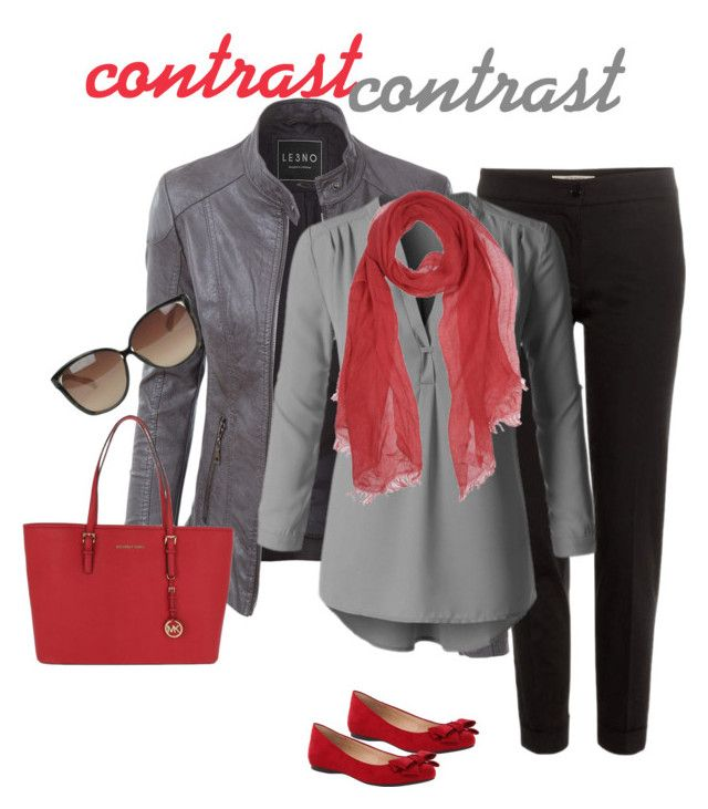 """""""contrast#grey#red#141"""" by bidlekerika on Polyvore featuring LE3NO, Etro, MICHAEL Michael Kors, Linda Farrow and Dondup"""