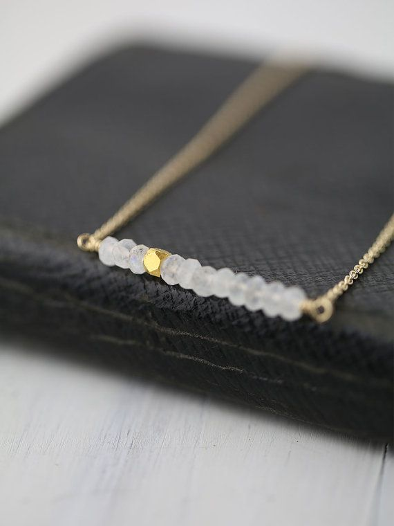 Minimalist Gold Moonstone Necklace / Jewelry by burnish by burnish