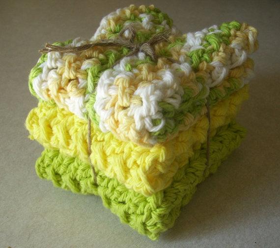LemonLime Cotton Crocheted Wash Cloths