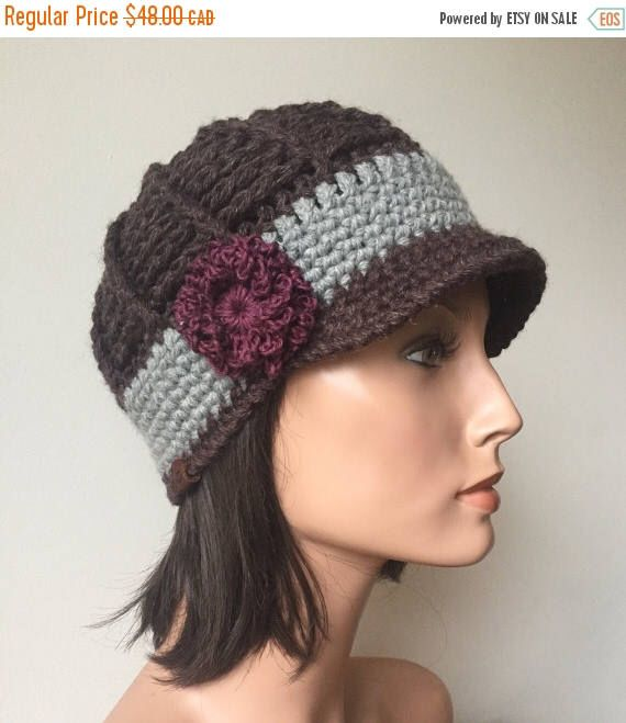 Excited to share the latest addition to my #etsy shop: Annual Winter Sale Boho Classy Newsboy Brown Grey Hemp Wool Crochet Flower brooch brimmed beanie hat Autumn Fall Winter Fashion Ready to Shi