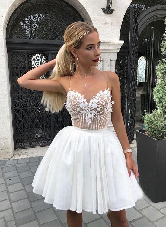 White v neck lace short prom dress, homecoming dress