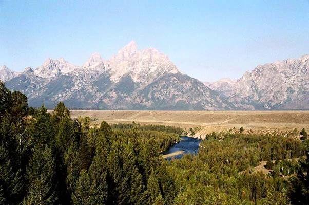 Obrázky k cestopisu národní a státní parky Spojených Států Amerických- Pohoří Grand Teton - Grand Teton při odjezdu z parku
