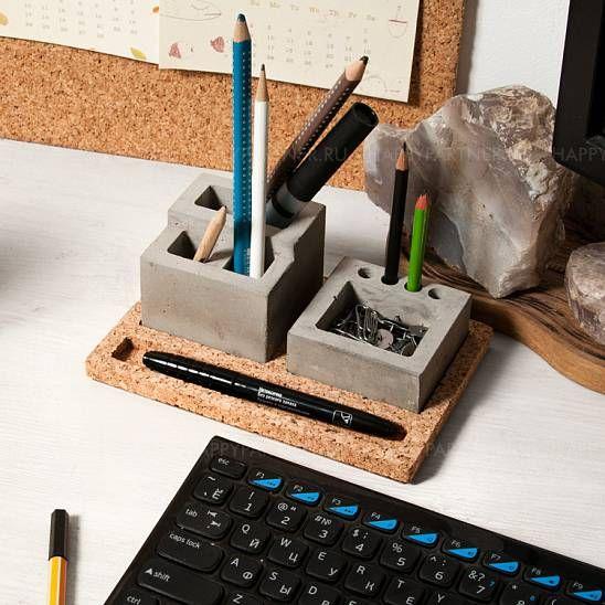 Concrete desk organizer with cork