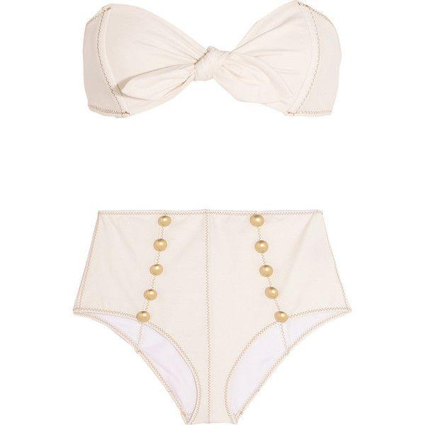 Lisa Marie Fernandez Poppy stretch-denim bandeau bikini (€450) ❤ liked on Polyvore featuring swimwear, bikinis, swimsuit, bikini, lisa marie fernandez, swim, cream, swim suits, swimsuits two piece and bandeau swimsuit