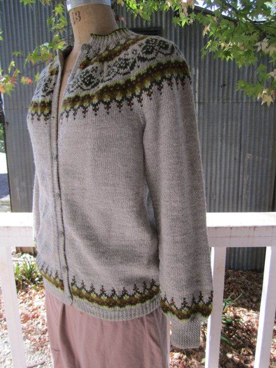 Cozy sweater in gray and greens. This Norwegian cardigan is hand knitted in Norway where they know about cold! So well made and in trending retro