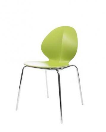 Elegantní plastová židle v zelené barvě na kovových nohách.   Pokud toužíte po nadčasovém interiéru, jsou pro Vás plastové židle to pravé. Velmi oblíbený design 50. let příjemně oživí Váš domov a navíc už nebudete chtít sedět na ničem jiném.
