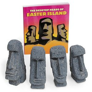 For centuries, the heads on Easter Island have filled visitors with wonder. What are they for? How did they get there? And, what are they looking at? Now you can build your own tabletop head farm of wonder.