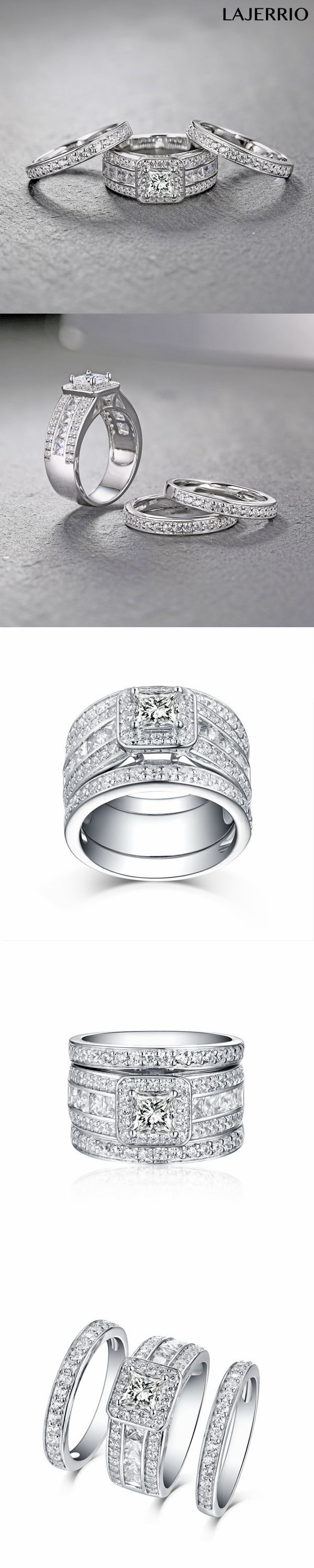 Lajerrio Jewelry Cushion Cut White Sapphire S925 Silver 3 Piece Halo Ring Sets