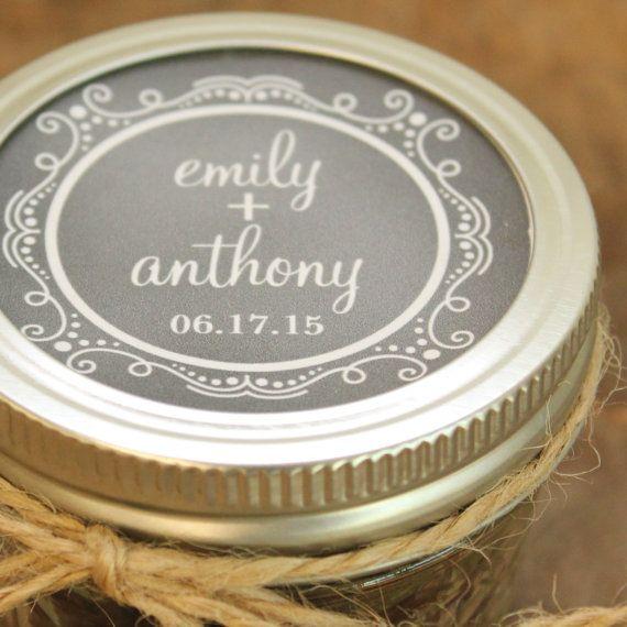 Set Of 24 4 Oz Mason Jar Wedding Favors Chalkboard Label Design Bridal