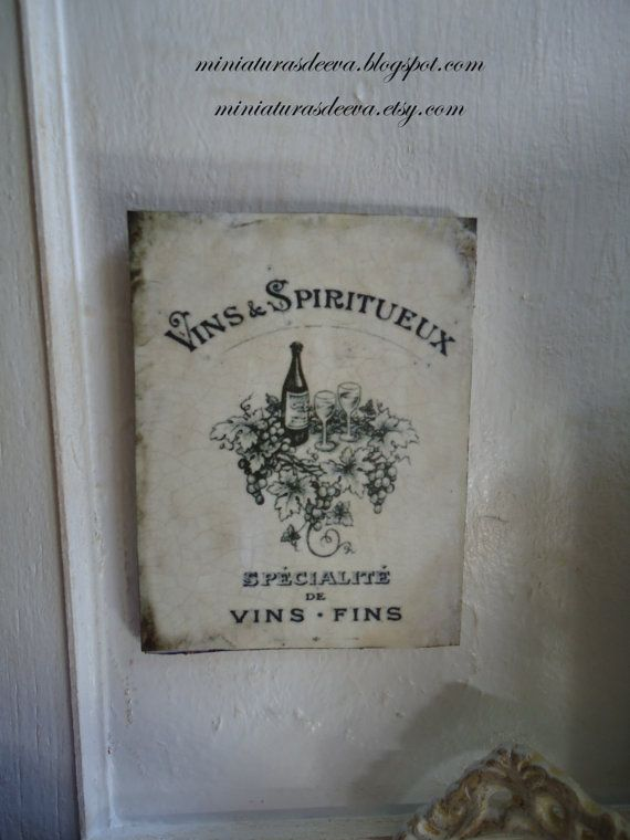 Vintage picture Vins. Sign. Wall decor. by MiniaturasDeEva on Etsy, €3.50