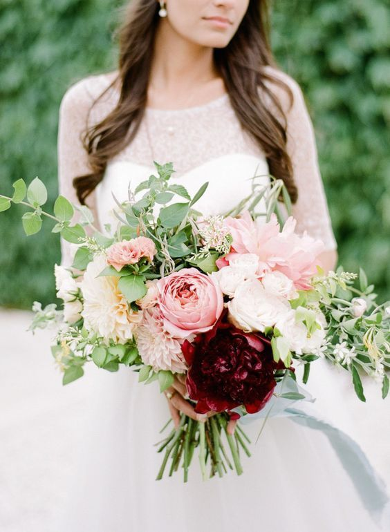 Spring Blush and Burgundy Wedding Bouquet