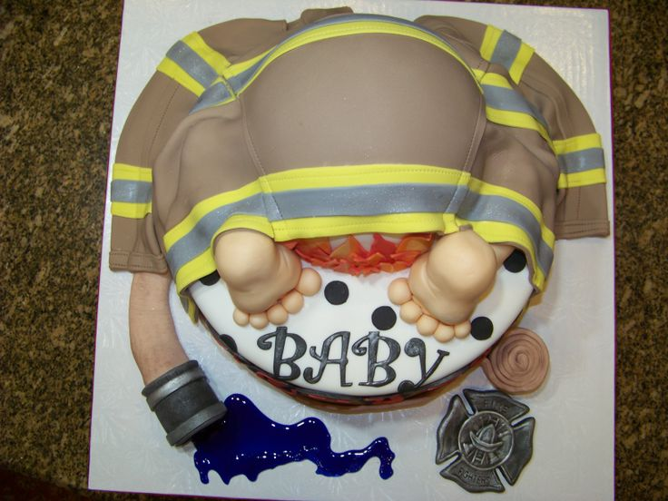 top view of the Fireman theme baby shower cake: would have been perfect for my babyshower for Sean and Will...  However, my cake was pretty awesome!