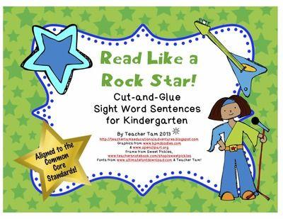 FREE Read Like a Rock Star! Cut-and-Glue Sight Word Sentences for Kindergarten  from TeacherTam on TeachersNotebook.com -  (4 pages)