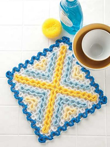 Ravelry: X's Wiggly Dishcloth pattern by Susan Lowman.