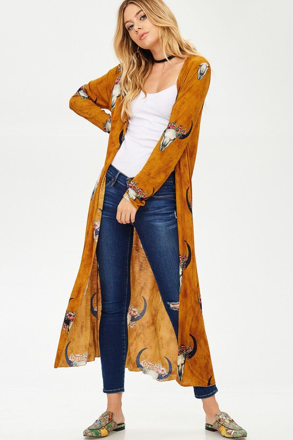 Black Friday Deal Bull Horn Print Long Cardigan Made in USA