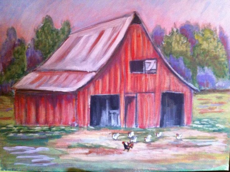 Original  Country  Primitive Folk Art Landscape  Painting Barn / Chickens