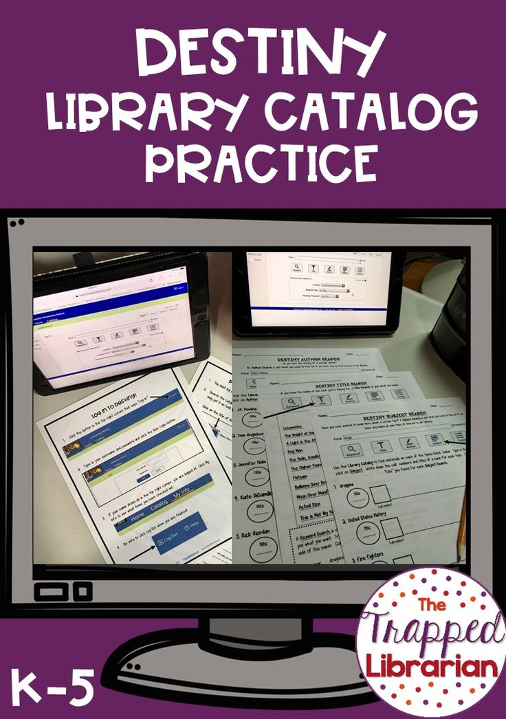 Destiny Library Catalog Lessons from The Trapped Librarian. Students will learn how to conduct 5 types of catalog searches as they become experts at searching the library catalog and locating materials on the shelves. Click to check out this best-selling unit!