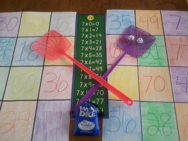 "Fun!!!  Fly Swatter Multiplication Game! Pick a table that you want to learn up to 12.  Roll the math dice using the 7""s. For example you will leave one dice on 7. Roll the other dice. It makes and equation like 7x4. Say it outload ""seven times 4 equals?"" and using the fly swatter you hit the answer on the poster board!!! Very fun, highly addiciting"