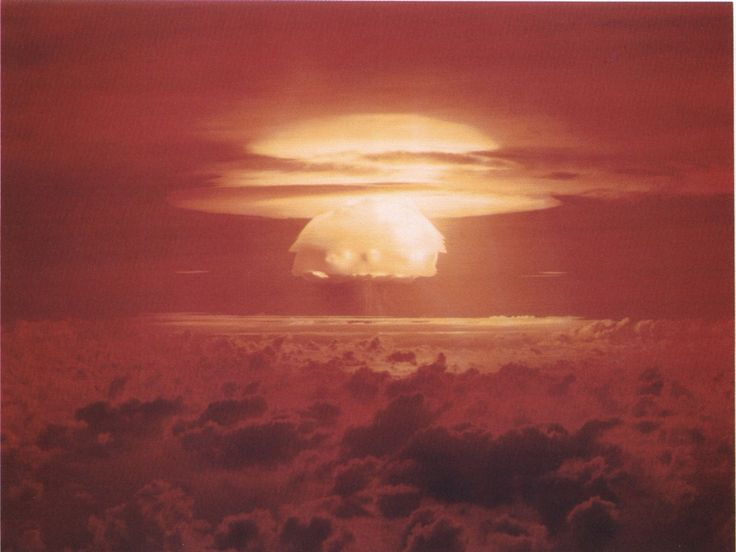 Castle Bravo nuclear test. (Most powerful nuclear device ever detonated by the United States.)