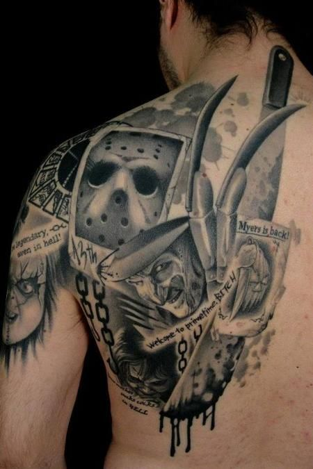 this guy is a big fan of horror movies. Love this! I'd make Michael Myers the center though.