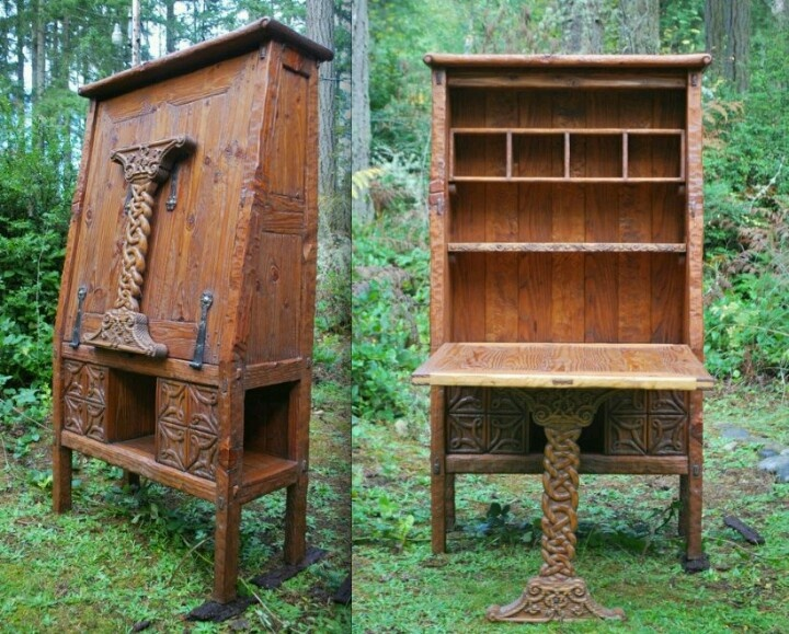 Maker Joel Bagby Of My Tree Dreams, Turns Salvaged Wood Into A Hand Carved  Pantry With Built In Seating For Four.