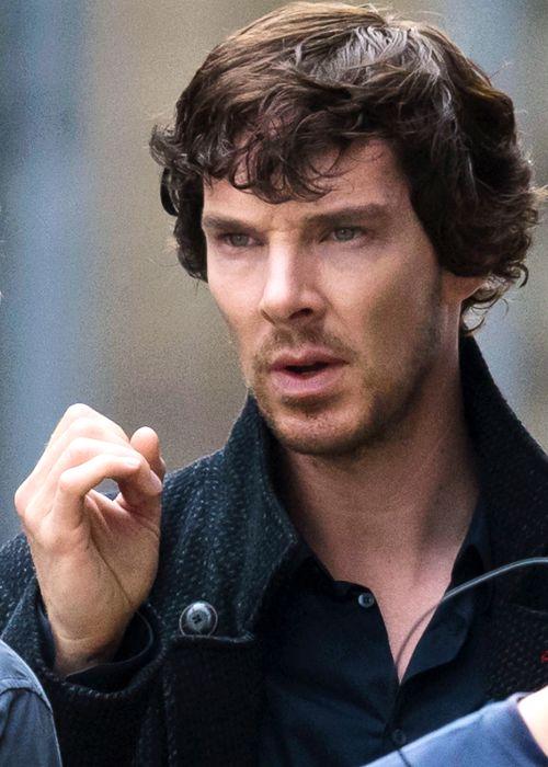 Benedict Cumberbatch is seen filming season 4 of Sherlock on May 31, 2016 in Cardiff, Wales