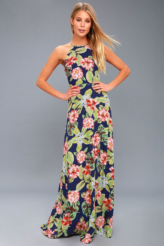 68f0e424bf4 Havana Oh Na Na Navy Blue Floral Print Maxi Dress in 2019 ...