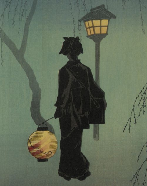 Spring Evening, Takahashi Shotei  (Japanese, 1870 - 1945)  Woodblock print; ink and color on paper