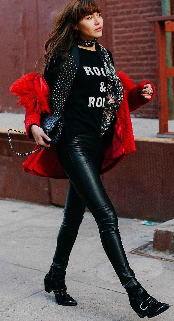 Black Printed Knit + Red Coat                                                                             Source