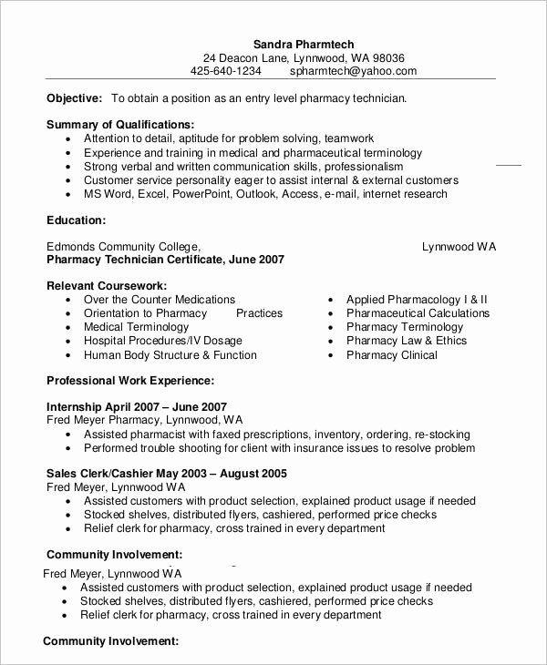Pharmacy Technician Resume No Experience Lovely 10 Pharmacy Technician Resume Templates Pdf Doc In 2020 Job Resume Samples Pharmacy Technician Resume Examples